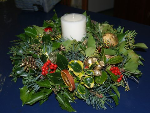 Christmas wreaths and flowers