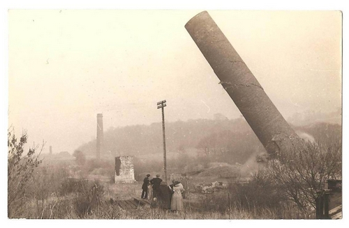 Chimney demolition at Grosmont in 1957 courtesy of Whitby Museum
