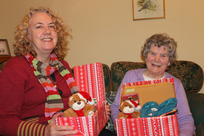 Sally & June Jenkins with some of their shoe boxes packed with gifts
