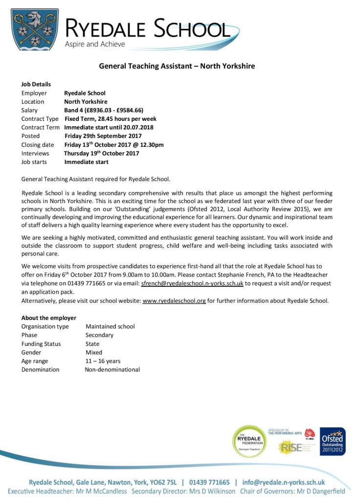 General Teaching Assistant required at Ryedale School