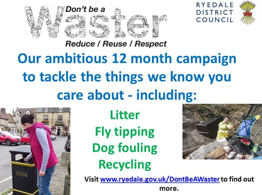 Ryedale District Council Dont Be A Waster - 1 Piece of Rubbish poster