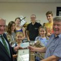 The High Sheriff present the band with a cheque for £250.00